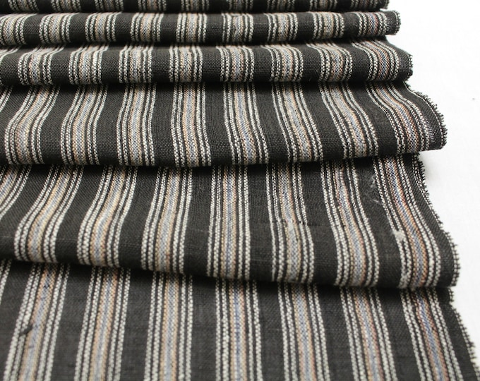Japanese Vintage Kasuri Ikat. Woven Striped Cotton. Traditional Folk Fabric. (Ref: 1917)