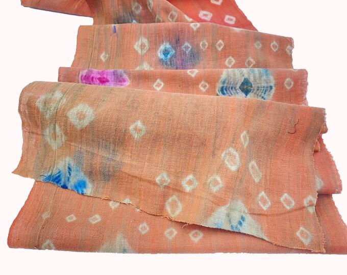 Antique Shibori. Japanese Vintage Cotton. Tie Dye Fabric. Botanical Dye. Orange Indigo. Diamond Geometric. Hand Dyed Cotton. Folk Textile