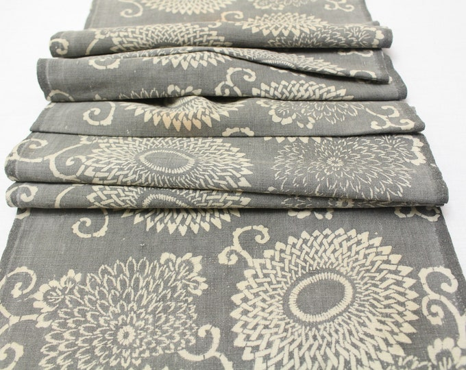 Japanese Katazome Textile. Antique Stenciled Cotton Fabric. Floral Design (Ref: 1959)