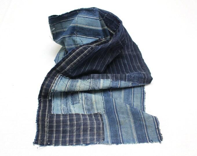 Long Boro Textile. Japanese Indigo Cotton. Artisan Aizome. Blue Vintage Folk Fabric (Ref: 1977)