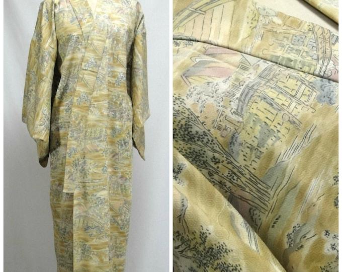 Yuzen Hand Painted Silk Kimono. Japanese Robe. Fine Scenic Design. (Ref: 027)