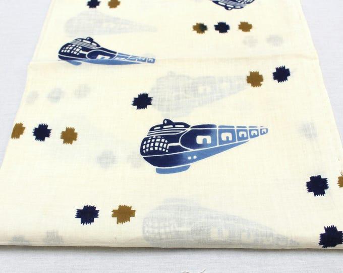 Japanese Vintage Tenugui. 2 Panels of Cotton. Blue Trains (Ref: 1805)