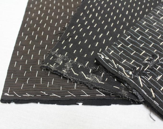 3 Japanese Zoukin Cloths. Antique Handmade Floor Cloth. Layered Ikat Cotton Sashiko Textile. Place Mat. (Ref: 1933)