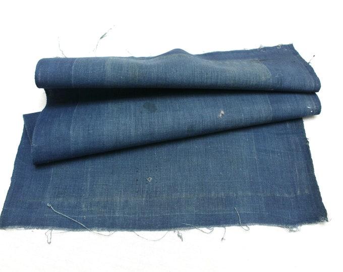 Japanese Indigo Cotton Scrap. Artisan Aizome Boro Textile. Blue Vintage Folk Fabric (Ref: 1831)