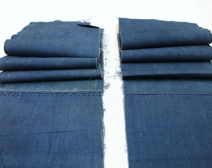 2 Japanese Indigo Cotton Scraps. Artisan Aizome Boro Textile. Blue Vintage Folk Fabric (Ref: 1842/1843)
