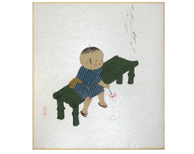 Japanese Art. Japanese Print. Original Print. Japanese Collage. Vintage Japanese Print. Mid Century Art. Asian Wall Art. Japanese Painting.