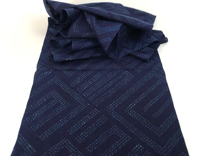 Shibori. Japanese Cotton. Indigo Dyed Cotton. Artisan Made Fabric. Vintage Fabric. Shibori Dyed Cotton. Vintage Shibori. Indigo Shibori.