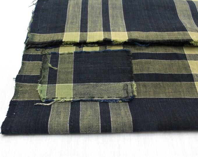Vintage Japanese. Cotton Fabric. Japanese Ikat. Vintage Plaid. Japanese Indigo. Japanese Ikat. Blue and Yellow. Folk Textile. Cotton Scrap