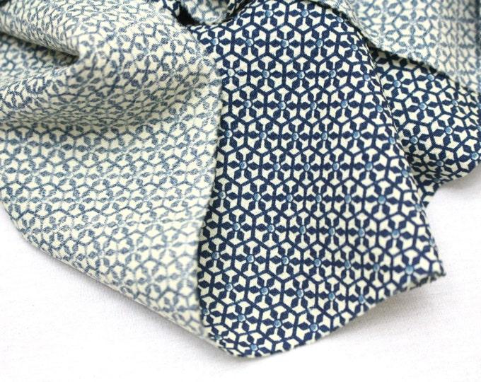 Vintage Japanese Silk/Wool. Artisan Made Hand Dyed Katazome Kimono Fabric (Ref: 1461)