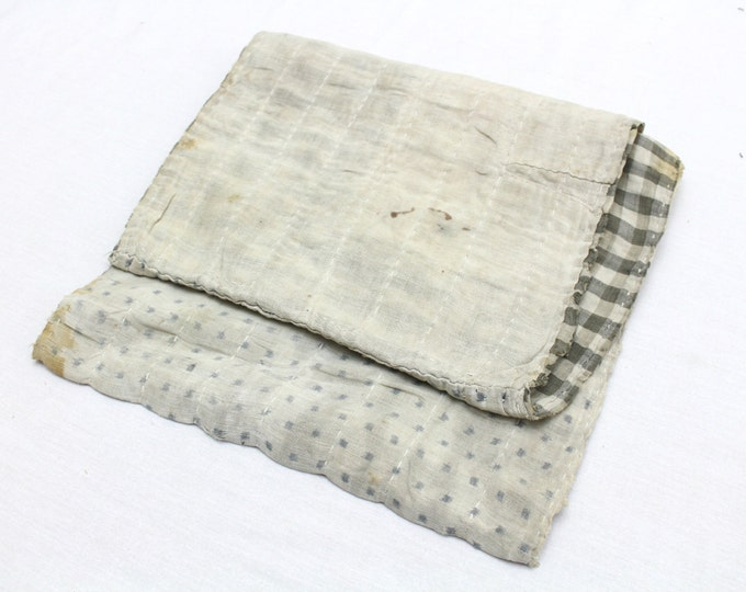 Japanese Antique Boro Textile. Indigo Ikat Kasuri Cotton with Sashiko (Ref: 135)