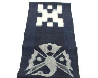 E-Gasuri. Japanese Ikat. Vintage Cotton. Picture Ikat. Woven Textile. Indigo Cotton. Boro Cotton. Quilting Fabric. Indigo Cotton Fabric