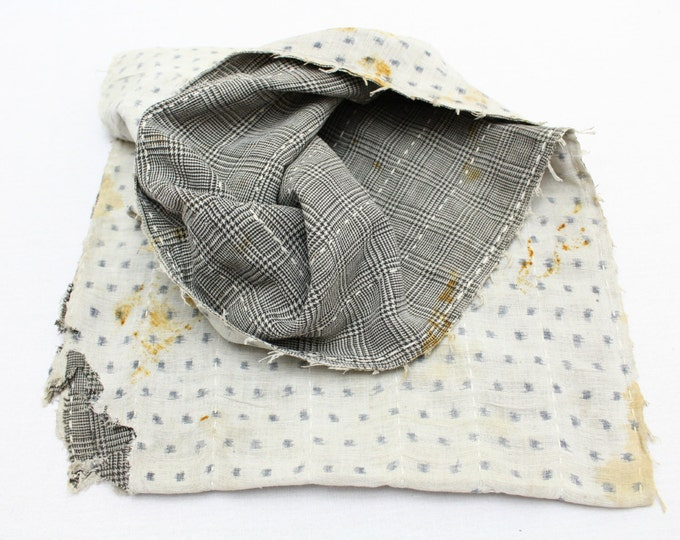 Japanese Antique Boro Textile. Indigo Ikat Kasuri Cotton with Sashiko (Ref: 136)
