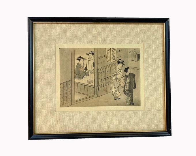 Original Ukiyo-e. Antique Ukiyo-e. Japanese Print. Woodblock Print. Framed Ukiyo-e. Framed Wall Art. Japanese Decor. Oriental Wall Art