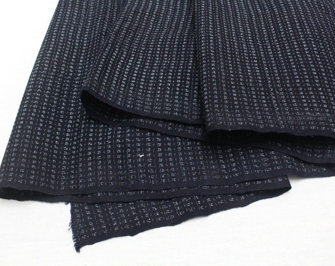Hand Loomed Antique Cotton. Japanese Kasuri Kagasuri Ikat. Dark Indigo Blue Black. (Ref: 1598A)