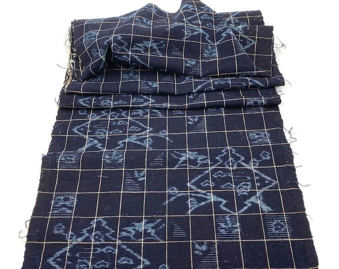 E-Gasuri. Japanese Indigo Cotton. Vintage Fabric. Kasuri Ikat. Picture Ikat. Plaid Cotton Fabric. Hand Loomed. Indigo Folk Textile. Scarf