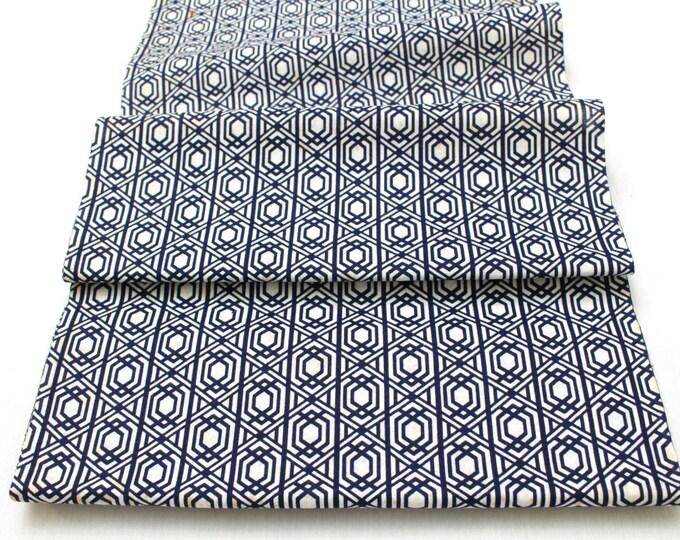 Japanese Vintage Yukata Cotton Fabric. Blue and White Geometric Design (Ref: 1333 )