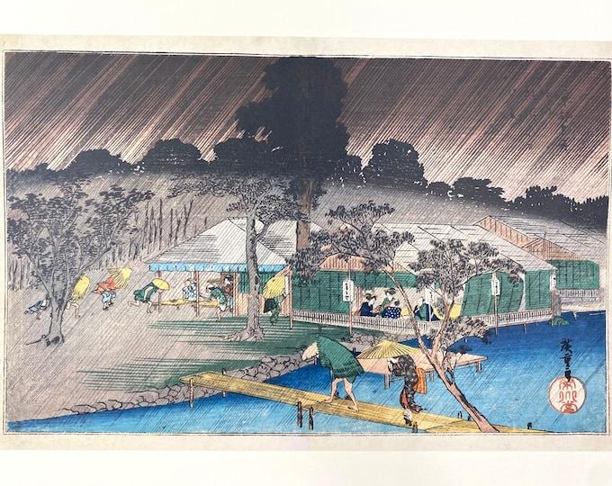 Utagawa Hiroshige. Famous Places in Kyoto.  Evening Shower at the Bank of Tadasu River. Japanese Ukiyo-E. Woodblock Print.