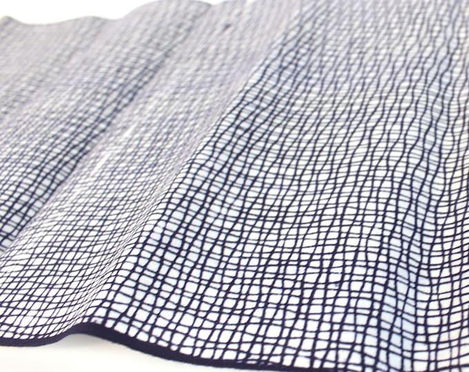 Japanese Cotton. Yukata Cotton. Vintage Japanese. Fabric. Hand Dyed. Indigo Dyed. Blue and White. Abstrac. Geometric. Dark Blue Cotton.