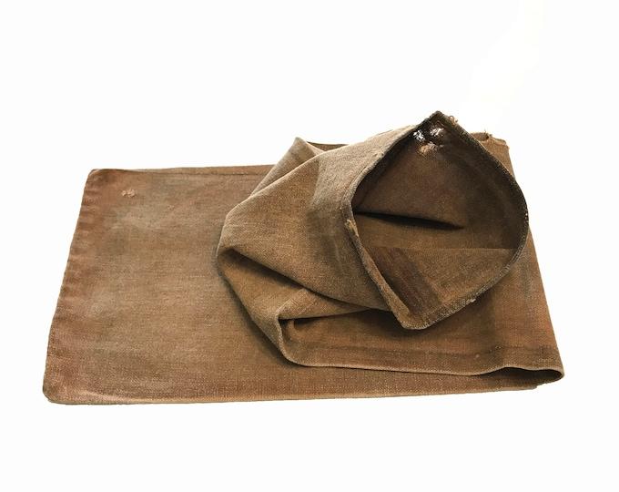 Sakabukuro. Japanese Antique. Sake Bag. Kakishibu. Persimmon Dyed. Industrial Sack. Thick Cotton. Industrial Fabric
