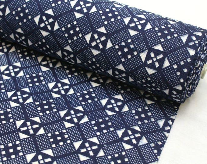 Japanese Artisan Cotton. Vintage Yukata Bolt. Blue Indigo Katazome (Ref: 1867)