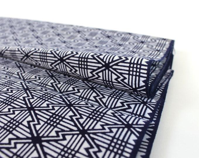 Japanese Vintage. Yukata Cotton. Blue and White. Japanese Cotton. Geometric Fabric. Japanese Indigo. Yukata Bolt. Geometric Cotton.