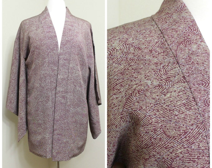 Japanese Haori Jacket. Vintage Silk Coat Worn Over Kimono. Purple Water Wavy Design (Ref: 79)