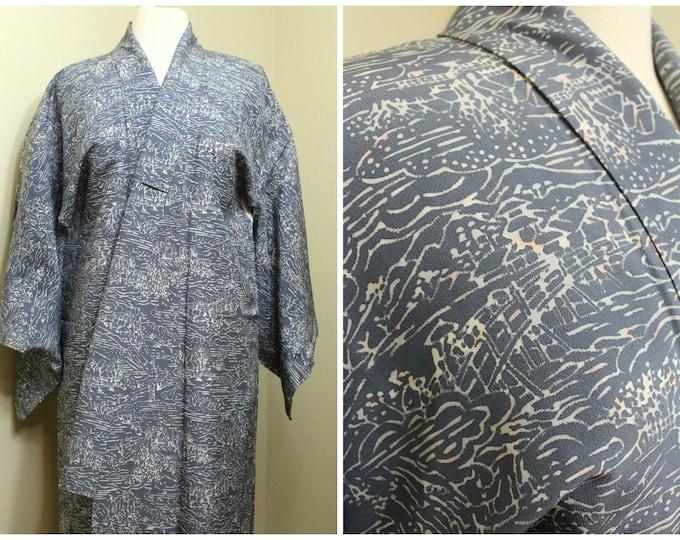 Japanese Kimono. Vintage Kimono. Lilac Kimono. Women's Kimono. Purple Kimono. Formal Kimono. Silk Robe. Gray Blue Kimono. Authentic Kimono