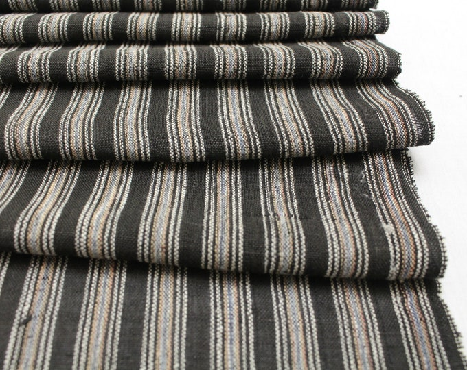 Japanese Vintage Kasuri Ikat. Woven Striped Cotton. Traditional Folk Fabric. (Ref: 1917)