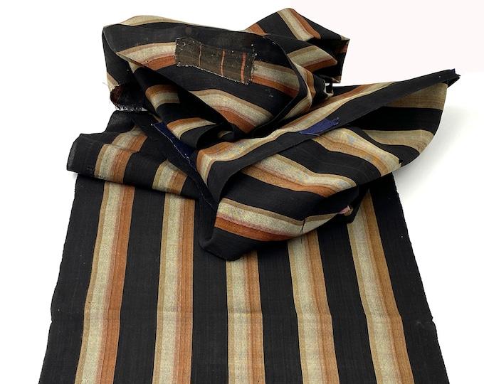 Japanese Striped Cotton. Vintage Fabric. Kasuri Ikat. Shima Striped Fabric. Hand Loomed. Antique Indigo Folk Textile. Vintage Scarf