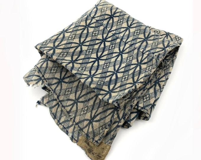 Katazome Cotton. Japanese Antique. Furoshiki. Japanese Boro. Folk Textile. Japanese Indigo. Vintage Fabric. Japanese Cotton. Stencil Dyed