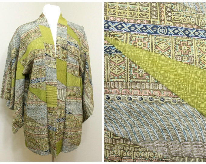 Japanese Haori Jacket. Vintage Silk Coat Worn Over Kimono. Modern Pattern in Olive / Mustard Green (Ref: 1196)