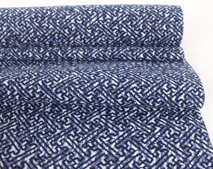 Vintage Japanese. Yukata Bolt. Blue and White. Geometric Cotton. Japanese Cotton. Geometric Fabric. Japanese Indigo. Indigo Cotton.