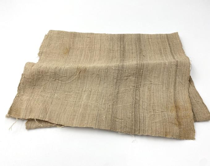 Antique Japanese Fabric. Natural Hemp. Folk Fabric. Japanese Hemp. Vintage Fabric. Natural Beige Striped Fabric. Hand Woven Hemp.