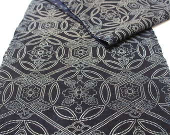 Japanese Katazome Cotton. Boro Textile. Natural Indigo Stencil Dyed Folk Fabric  (Ref: 1906)