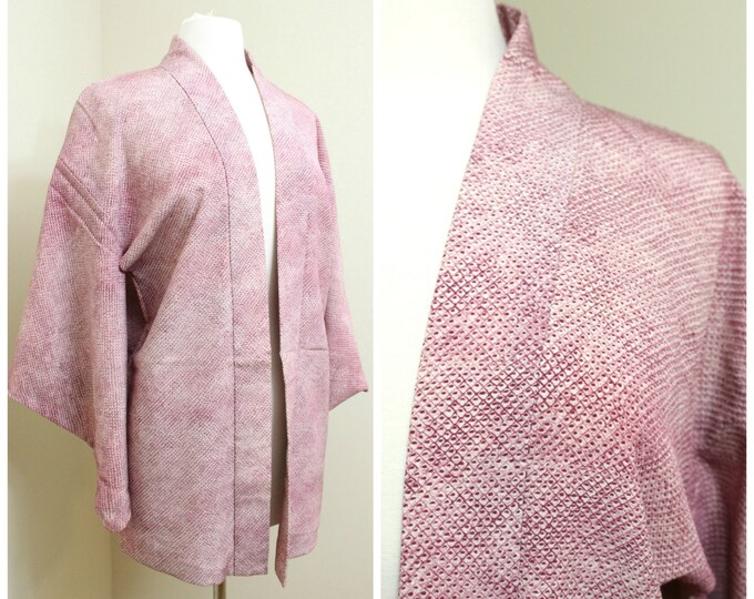 Japanese Haori Jacket. Pink Purple Shibori Silk. Vintage Coat Worn Over Kimono. (Ref: 81)