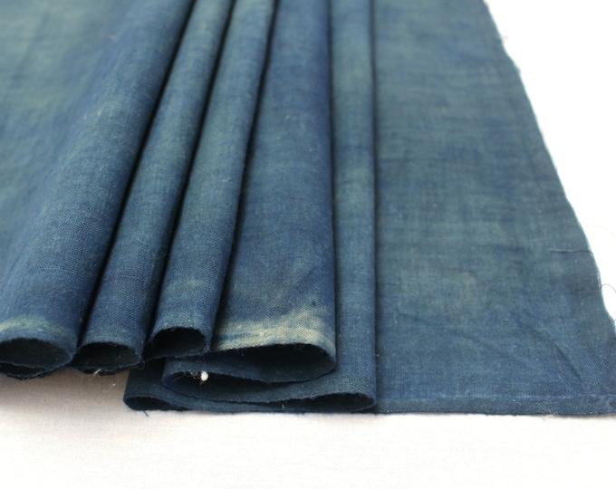 Japanese Indigo Cotton. Artisan Aizome Boro Textile. Blue Vintage Folk Fabric (Ref: 1768C)