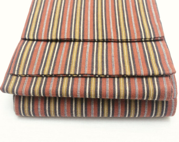 Japanese Obi. Striped Woven Ikat Cotton Textile. Orange Red Mustard Brown Warm Fall Shades (Ref: 1571)