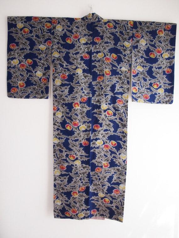 Blue Meisen kimono - Meisen long kimono, silk kim… - image 2