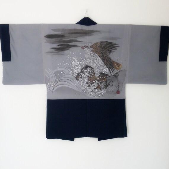 Authentic Japanese Haori for men, silk pongee, sus