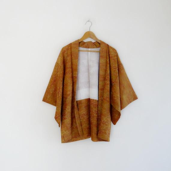 Earthy tones floral Haori, vintage silk crepe kimo