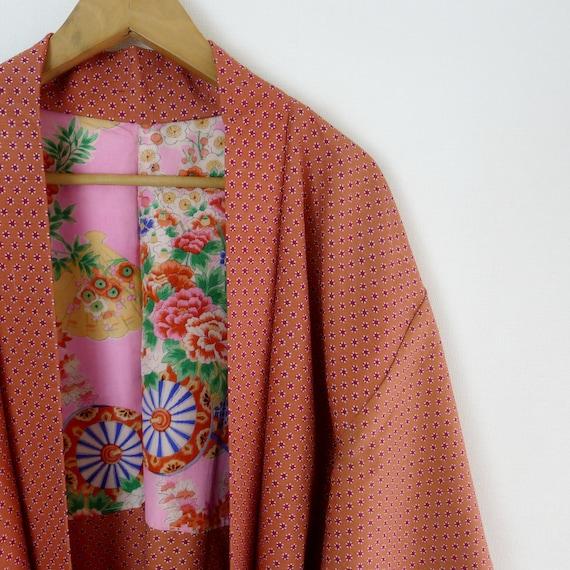 Tea rose haori, vintage Kimono jacket in excellent