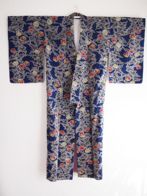 Blue Meisen kimono - Meisen long kimono, silk kim… - image 5