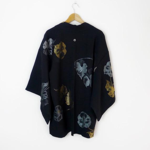 Botanical pattern Haori vintage kimono jacket in b