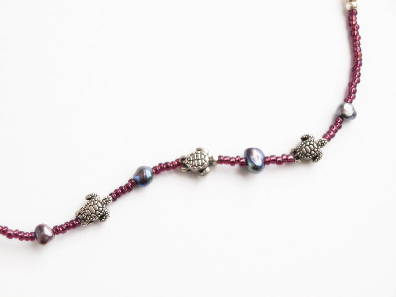 Kimono accessory turtle no waste Black pearl himo tie hand made beaded himo tie silver