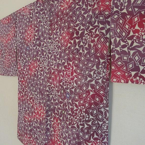 Purple Red Haori  - silk pongee Kimono jacket, sus