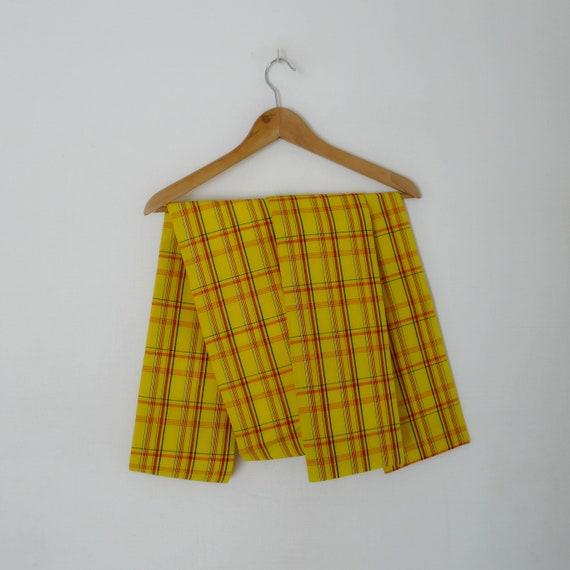 Yellow tartan Hanhaba Obi belt -  kimono belt, woo