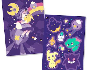 Ghost Type - Sticker sheet & mini print set