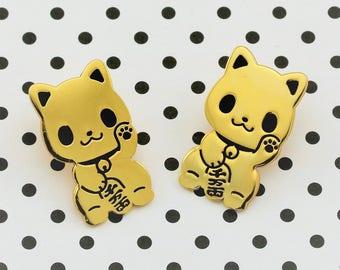 Maneki Neko Enamel Pin - Seconds Sale