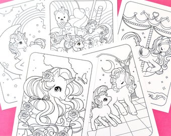 Unicorn & Friends printable colouring pages - Set of 5 - DOWNLOAD ONLY