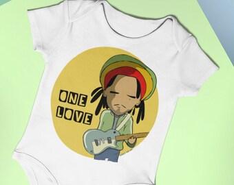 42d5d91b9 BOB MARLEY Organic baby bodysuit, Reggae music top for baby girl and boy,  custom babyshower gift, Music onesie, italian t shirt design